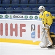 SPISSKA NOVA VES, SLOVAKIA - APRIL 13: Sweden's Adam Ahman #30 looks on during warm-up prior to preliminary round action against Russia at the 2017 IIHF Ice Hockey U18 World Championship. (Photo by Steve Kingsman/HHOF-IIHF Images)