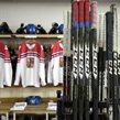 SPISSKA NOVA VES, SLOVAKIA - APRIL 14: Czech Republic player sticks ready in the dressing room prior preliminary round action against Belarus at the 2017 IIHF Ice Hockey U18 World Championship. (Photo by Steve Kingsman/HHOF-IIHF Images)