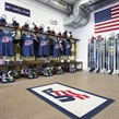 SPISSKA NOVA VES, SLOVAKIA - APRIL 15: Team USA dressing room prepared for player arrival prior to preliminary round action against Russia at the 2017 IIHF Ice Hockey U18 World Championship. (Photo by Steve Kingsman/HHOF-IIHF Images)