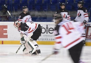 POPRAD, SLOVAKIA - APRIL 15: Canada's Ian Scott #1 warms up prior to preliminary round action against Slovakia at the 2017 IIHF Ice Hockey U18 World Championship. (Photo by Andrea Cardin/HHOF-IIHF Images)