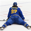 SPISSKA NOVA VES, SLOVAKIA - APRIL 15: Sweden's Jacob Olofsson #27 stretches during warm-up prior to preliminary round action against the Czech Republic at the 2017 IIHF Ice Hockey U18 World Championship. (Photo by Steve Kingsman/HHOF-IIHF Images)