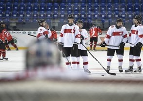 POPRAD, SLOVAKIA - APRIL 17: Players form team Switzerland warm up prior to preliminary round action against Canada at the 2017 IIHF Ice Hockey U18 World Championship. (Photo by Andrea Cardin/HHOF-IIHF Images)