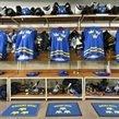 SPISSKA NOVA VES, SLOVAKIA - APRIL 18: Sweden dressing room set up prior to preliminary round action against the U.S. at the 2017 IIHF Ice Hockey U18 World Championship. (Photo by Steve Kingsman/HHOF-IIHF Images)