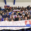 POPRAD, SLOVAKIA - APRIL 18: Team Slovakia fans hold up a banner during preliminary round action against Switzerland at the 2017 IIHF Ice Hockey U18 World Championship. (Photo by Andrea Cardin/HHOF-IIHF Images)