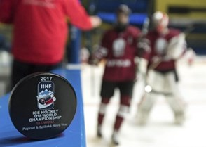 SPISSKA NOVA VES, SLOVAKIA - APRIL 20: Official game puck sits on the dasherboard prior to Belarus vs Latvia relegation round action at the 2017 IIHF Ice Hockey U18 World Championship. (Photo by Steve Kingsman/HHOF-IIHF Images)