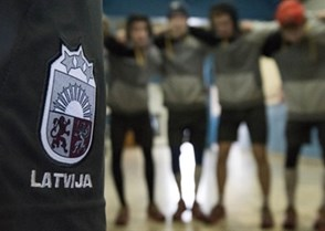 SPISSKA NOVA VES, SLOVAKIA - APRIL 23: Latvian ice hockey federation patch worn by it's players as they warm-up prior to relegation round action against Belarus at the 2017 IIHF Ice Hockey U18 World Championship. (Photo by Steve Kingsman/HHOF-IIHF Images)